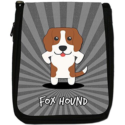 English Cartoon cani medium nero borsa in tela, taglia M Fox Hound