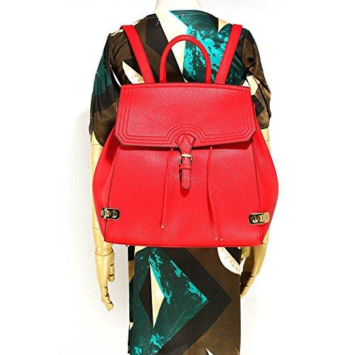Damen Stilvoll Designer Zurück zurück Mit Vorderseite Schnalle Schließung Stecken Auf Das Boden Von Das Tasche Und Viel Von Platz innen Das Tasche Mit Reißverschluss Und Öffnen Taschen (A - Nackt) A - Rot