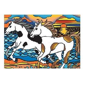 Colorvelvet Dibujo para Colorear «Caballos en la Playa&Raquo (47cm x 35cm)