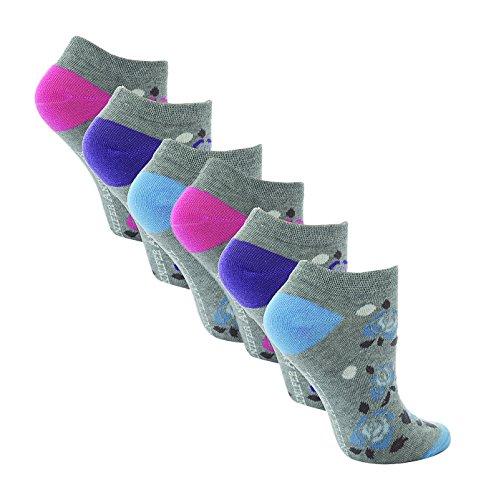 6 paia Donne Jennifer Anderton cotone ricchi Calza sportiva alla caviglia 37-42 (Fiori / Roses)