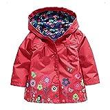 Largeshop Blumen Regenjacke Winddichte Wasserdicht Mädchen Regenmantel mit Kapuze Kinder Sportliche Softshelljacke