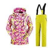 Mädchen Kinder Skianzug Skijacke Skihose Regenlatzhose Verdickung Lang Jacket Wintermantel Mantel (Gelb 1, 122/128)