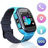 Jslai Niños Smartwatch Relojes, Inteligente LBS Tracker de Alarma SOS Infantil Relojes de Pulsera Cámara Reloj móvil Mejor Regalo para Niño niña de 3-12 años Compatible con iOS/Android(Blue)