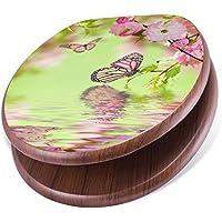 BANJADO Design Toilettensitz mit Absenkautomatik, WC-Sitz Holz, Klodeckel mit Metall Scharnieren, Toilettendeckel mit Motiv Japanische Kirschblüte