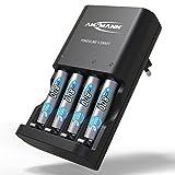 ANSMANN Batterieladegerät inkl. 4x AAA 800 mAh - Powerline 4 Smart - Universal Akku Batterie Ladegerät für Ni-MH AA & AAA Akkubatterien - Schnellladegerät für Akkus & wiederaufladbare Batterien