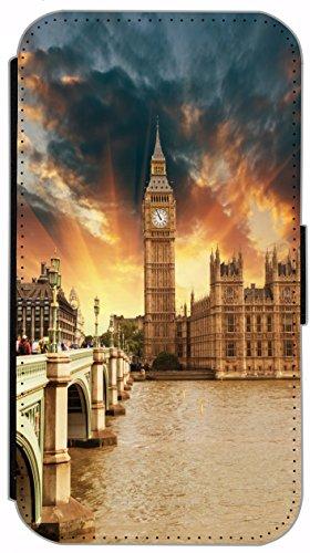 FioMi Flip Cover Hülle Samsung Galaxy S5 / S5 Neo Motiv 683 Big Ben London England Bunt Handy Tasche Etui Schutzhülle Flipcover Case Wallet Bookflip Buchflip (Galaxy Case Samsung S5 London)