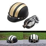ViZe Helmet Bolt Halb Offenen Helm Motorrad Schutz Motorrad Unisex mit Visor und Schal 54-60cm (Gold)