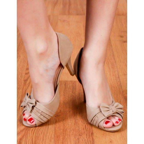 Princesse boutique - Escarpins chics à bouts ouverts et noeud fantaisie beige Beige