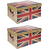 2 x XXL Aufbewahrungsboxen Sortierboxen Einschubboxen Ordnungsboxen Boxen Karton mit Deckel faltbar (Motiv: GB) preisvergleich bei kinderzimmerdekopreise.eu
