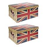 2 x XXL Aufbewahrungsboxen Sortierboxen Einschubboxen Ordnungsboxen Boxen Karton mit Deckel faltbar (Motiv: GB)