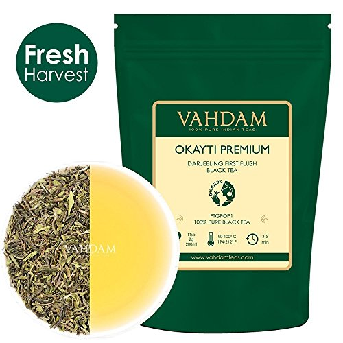Okayti Premium Darjeeling First Flush Organic Black Tea, 100% Pure Unblended Black Tea Loose Leaf Sourced Direct from The Okayti Tea Estate, (50 Cups), 100g