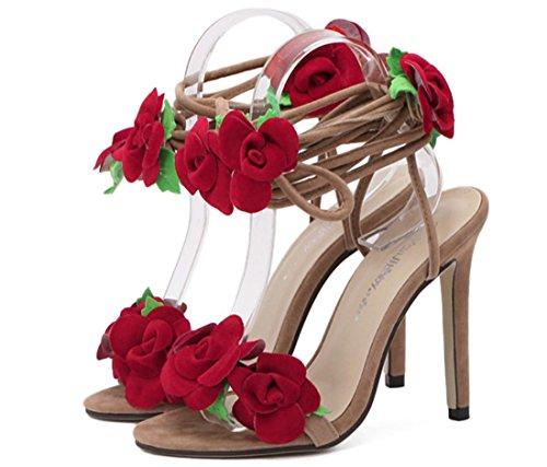 YCMDM Femmes Eté Nouveau Sandales de plage Confortable Roses Croix Dentelle Sandales à talons hauts as picture
