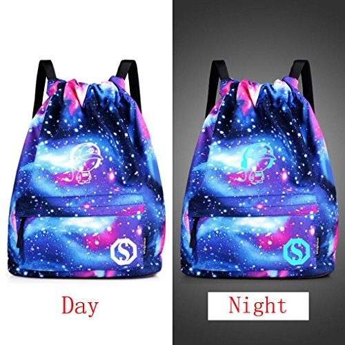 Malloom® 88/5000 Unisex Light Preppy Teenagers Noctilucent Cartoon Drawstring Bundle Pocket Bags xīngkōng lán yīnyuè xiǎozi Unisex leichte adrette Jugendliche Nachtleuchtende Cartoon Drawstring Bundl (2 Pocket Hobo Bag)