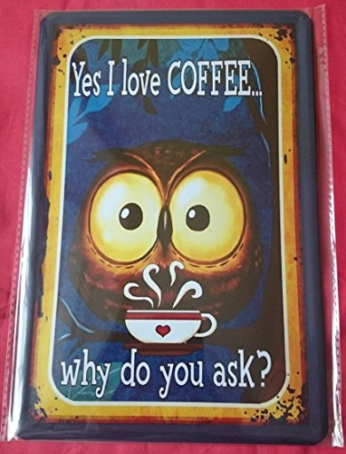 Blechschild 20×30 I love coffee why do you ask Spruch fun Bar Metall Schild