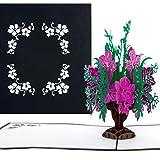 Pop-Up Karte'Blumenbouquet in edlem Schwarz' - 3D Blumenkarte als Blumengruß,...