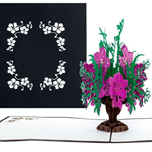 """Pop-Up Karte""""Blumenbouquet in edlem Schwarz"""" - 3D Blumenkarte als Blumengruß, Beileidskarte, Trauerkarte und Danksagungskarte - Trauer Karte mit Umschlag"""