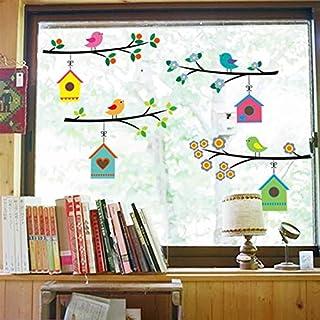 WandSticker4U®- Fensterbilder niedliche Vogel Familie I Baum Zweig 4x75cm I Fensterdeko Vogel Aufkleber selbstklebend I Fenstersticker Frühling Blumen I Wandtattoo Kinderzimmer Deko bunt