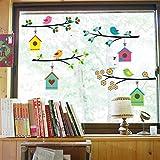 WandSticker4U- Fensterbilder niedliche Vogel Familie | Breite je Zweig: 75cm | Wandtattoo Baum AST Blumen bunt Natur Fenster-Aufkleber Möbel Sticker | Deko für Kinderzimmer Kinder Babyzimmer Flur