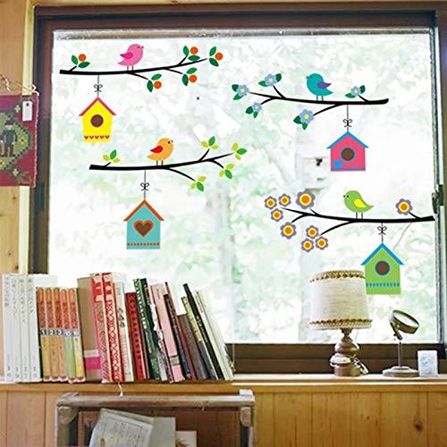 WandSticker4U®- Fensterbilder niedliche Vogel Familie | Breite je Zweig: 75cm | Wandtattoo Baum AST Blumen bunt Natur Fenster-Aufkleber Möbel Sticker | Deko für Kinderzimmer Kinder Babyzimmer Flur