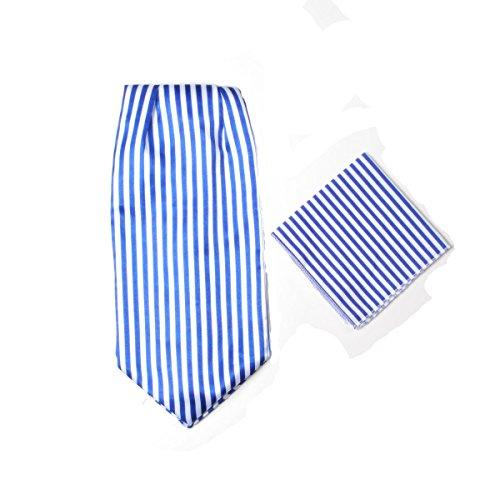 Herren-Premium-Ascot-Krawatte, Italienische Designerkrawatte, 100% Seide, Paisleymuster, mit Einstecktuch Gr. Einheitsgröße, Blau / Weiß gestreift (Shirt Blau Krawatten)