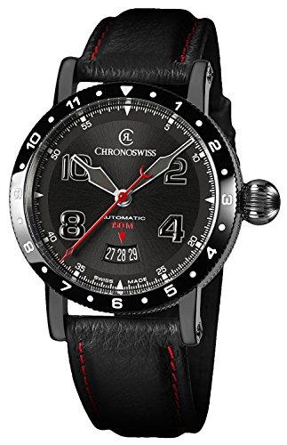 Chronoswiss Timemaster 150 Automatic Black PVD Steel Mens Strap Watch Calendar CH-2735-AZ/31-1