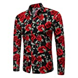 Hemd Herren Langarmhemd Business Slim Fit Shirt Druck Top Männliches langärmeliges bedrucktes Bluse