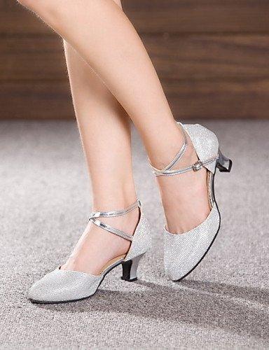 ShangYi Schuh Keine Maßfertigung möglich - Kubanischer Absatz - Leder / Lackleder - Lateintanz / Jazztanz - Damen , silver-us6.5-7 / eu37 / uk4.5-5 / cn37 , silver-us6.5-7 / eu37 / uk4.5-5 / cn37