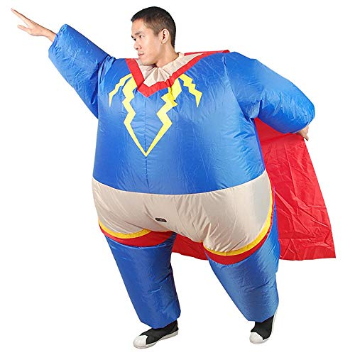 MIMI KING Aufblasbare Superhelden-Kostüm Für Erwachsene, Fette Superman Cosplay Fantasie Kleid Halloween-Party