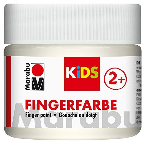 Marabu 03030050070 - Kids Fingerfarbe auf Wasserbasis, parabenfrei, vegan, laktosefrei, glutenfrei, geeignet zum Malen in Kindergarten, Schule, Therapie und zu Hause, 100 ml, weiß