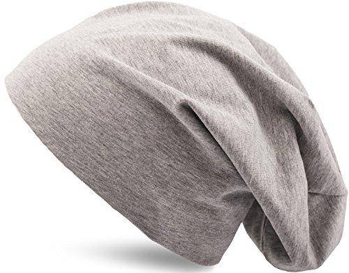 Jersey Baumwolle elastisches Long Slouch Beanie Unisex Mütze Heather in 35 verschiedenen Farben (3) (Heather Grey) (Unisex Heather Grey Baumwolle)