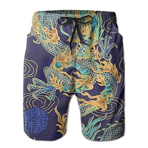 Tradition Chinese Dragon Design Atmungsaktive Jungen Big & Tall Badehose Half Pants für Strand Outdoor Wandern XXL
