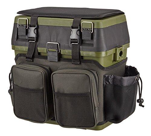 Sitzkiepe Angelbox Sitz- und Gerätekasten inklusive vier Kunststoffboxen OneSize Grün