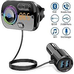 Transmetteur FM Bluetooth 5.0 Adaptateur Radio sans Fil Kit de Voiture Mains Libres, QC3.0 et 5V/2.4A Chargeur Rapid Voiture 2 Ports USB Lumière Colorée Support Siri TF Card Port Audio 3,5mm-Noir