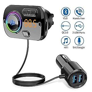 Bluetooth-FM-Transmitter-50-Auto-Radio-Adapter-mit-Dual-USB-Ports-QC3024A-Freisprecheinrichtung-mit-Mikrofon-Untersttzt-Siri-Google