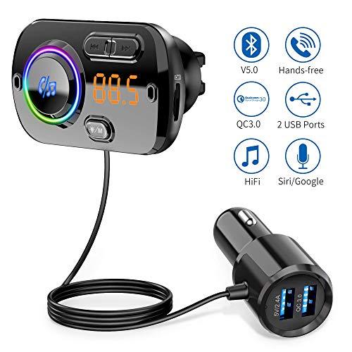 Bluetooth FM Transmitter 5.0 Auto Radio Adapter mit Dual USB Ports (QC3.0/2.4A), 7 Farbe Unterstützt TF Karte & Aux, Freisprecheinrichtung mit Mikrofon Unterstützt Siri Google (Schwarz)