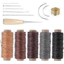 ROSENICE Herramienta de artesanía de cuero agujas de coser a mano de tapicería de cuero de