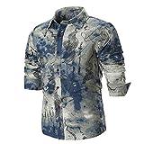 GreatestPAK Business-Shirt Hemd Sommer Shirts Spleißen Langarm-Jacke Slim Herren