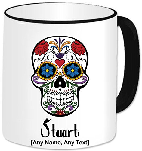 chenk – Gothic Decrative Totenkopf und Rosen Tasse (jeder Name jede Nachricht). Gothic Gothic Celtic Rock Totenkopf Rosen Bierkrug Fantasy Decrative Halloween Scary Spooky Skelett Neuheit Themed Geschenk (Design 3), keramik, Black Handle & Rim (Spooky Halloween-nachrichten)