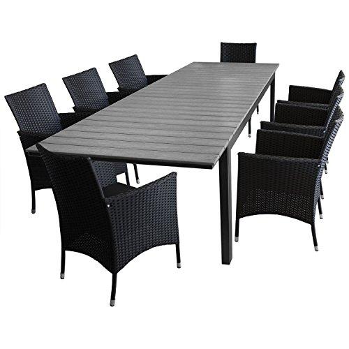 Multistore 2002 9tlg. Sitzgruppe Gartentisch Ausziehbar Polywood Tischplatte Silver-Grey 280/220x95cm + 8X Rattansessel Polyrattan Schwarz, inkl. Sitzpolster
