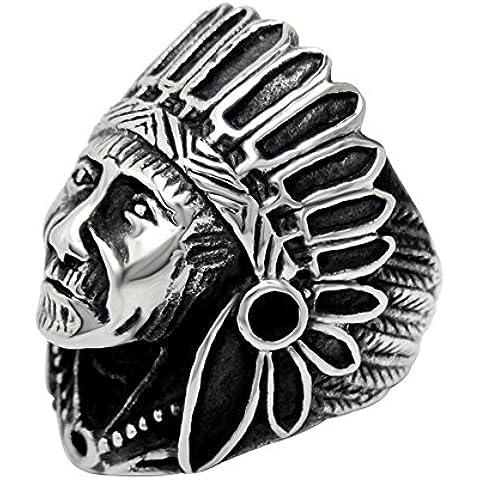 Jade ángel vieja de la vendimia de los hombres de titanio anillo de acero inoxidable grabado de jefe indio