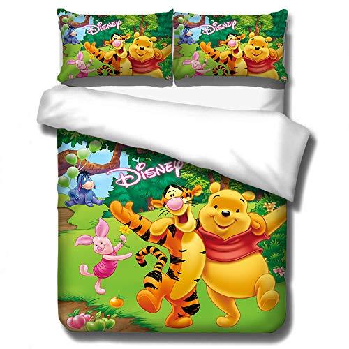 ZZALL Anime Winnie The Pooh Juego Ropa Cama 3 Piezas