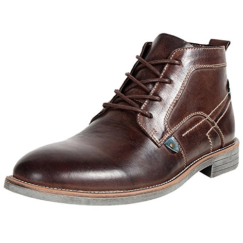 adbdab1d537a3 rismart Men's Ankle High Round Toe Popular Leather Chukka Boots  SN01801(Coffee,11 UK)