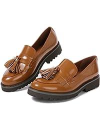 Mocassini Penny Donna Pelle Nero Eleganti Comode Piatte Loafers Scarpe con  Frangia Calzature Tacco Basso f89f7cf8272