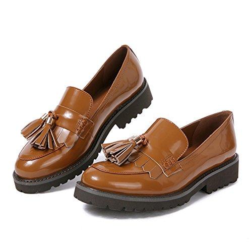 Damen Mokassin Loafers Flat Tassel frauen Schwarz Halbschuhe keilabsatz pumps Schuhe leder Niedriger Absatz Dicke Sohle breite schuhe (38, Braun Tassel) (Damen Halbschuhe Leder)