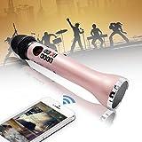 Lefon Wireless Handheld Mikrofon Karaoke mit Bluetooth Lautsprecher Live Sound Bühne LED-Display AUX Aufnahmegeräte für Party Konferenz Home KTV DJ Outdoor-Aktivitäten (Pink)