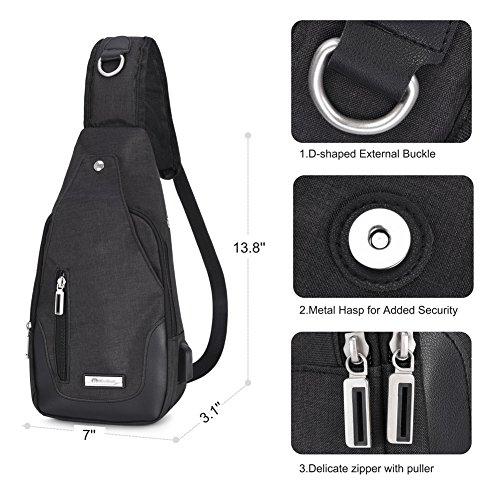 Vbiger Brusttasche Sling Rucksack Schultertasche Brusttaschen für Damen und Herren Daypack Militär Sporttasche, Stil1-schwarz, One Size