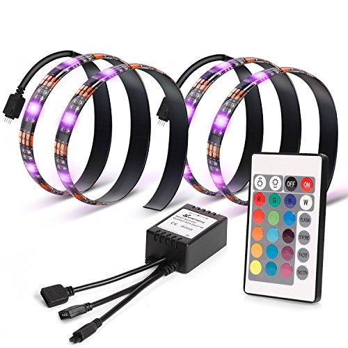 Vansky TV Backlight for HDTV 2 LED Strips Lights, Multi Color RGB Home Theater Bias Lighting Kit With Remote Control for Flat Screen TV Accessories, Desktop PC (Reduce eye fatigue and increase image