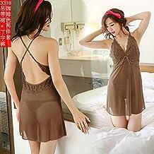 SQDQNUR-Mujer Pijama perspectiva extrema tentación uniforme delgada correa camisón noche mujer lencería de encaje promedio,código,3318 Brown
