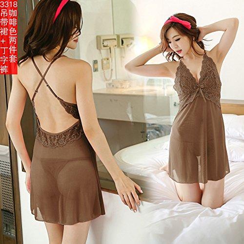 SQDQNUR-donne pigiami prospettiva estrema tentazione uniforme tracolla sottile camicia da notte notte donna Pizzo,165(L),3318 Brown