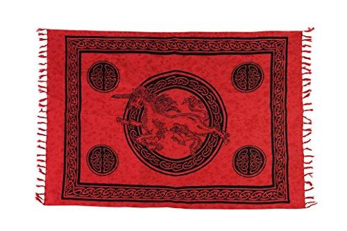 Ca 48 Modelle Sarong Pareo Wickelrock Strandtuch Handtuch Lunghi Dhoti ca. 170cm x 110cm mit Toller Stickerei Handarbeit viele Modelle Einhorn Rot